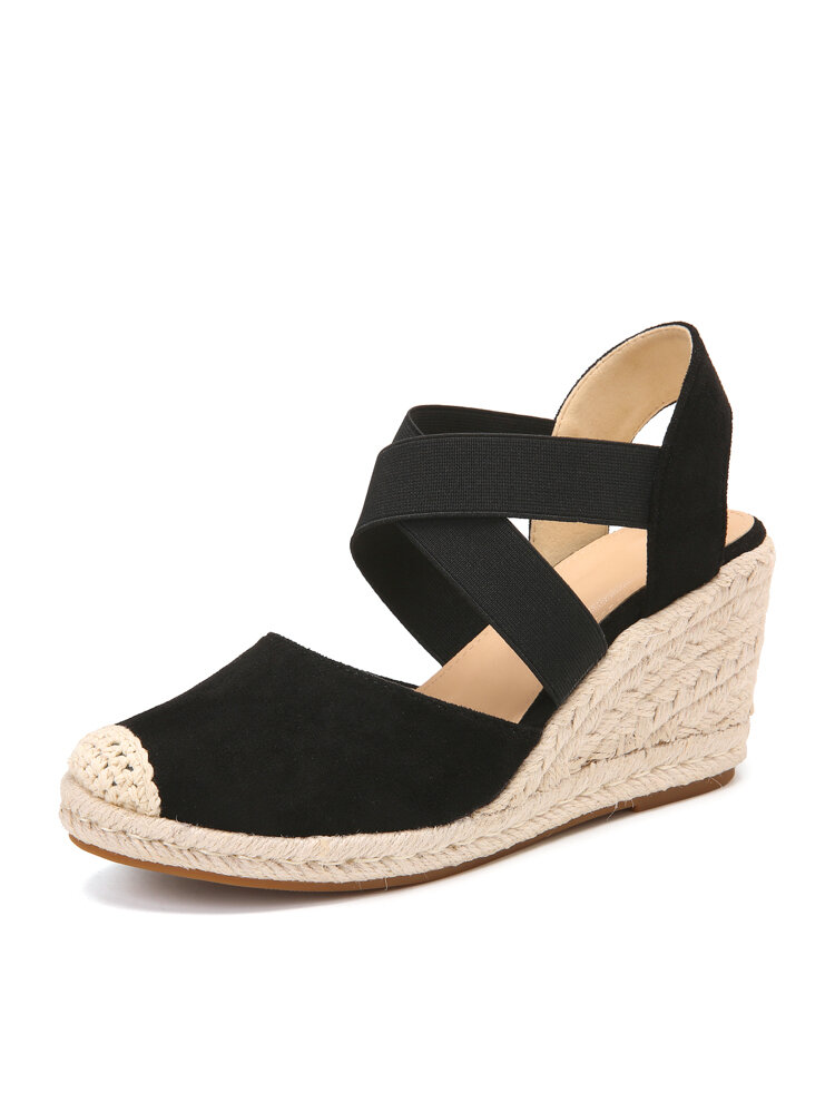 Women Casual Solid Lint Fabric Closed Toe Cross Strap Espadrille Wedges