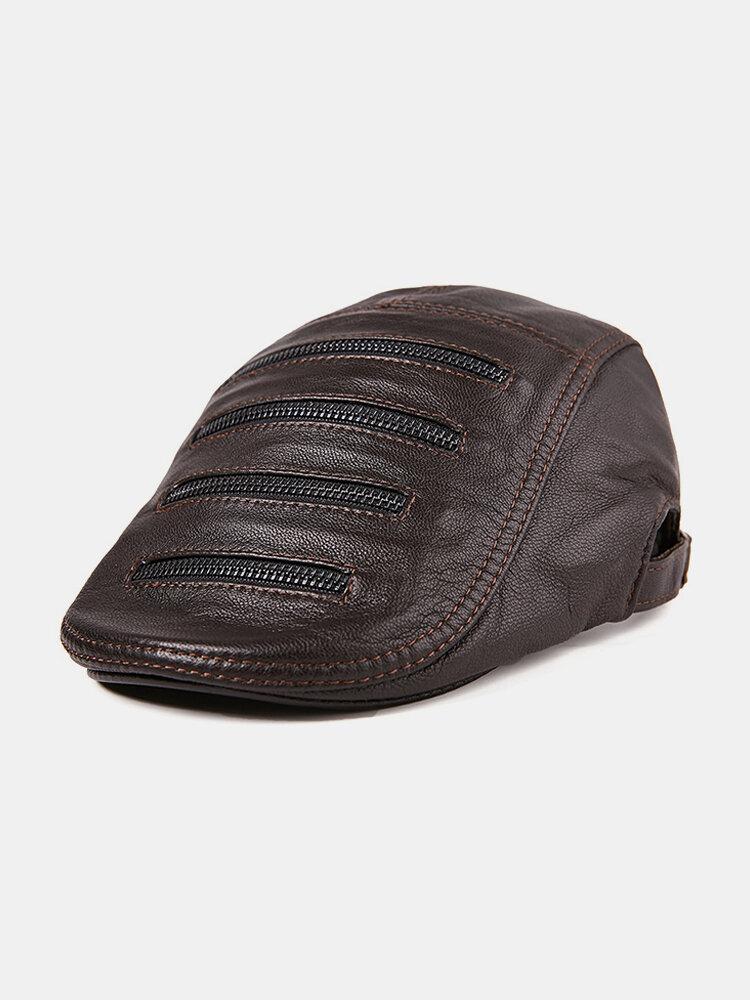 Men Leather Warm Winter Adjustable Thickening Comfortable Vintage Beret Cap
