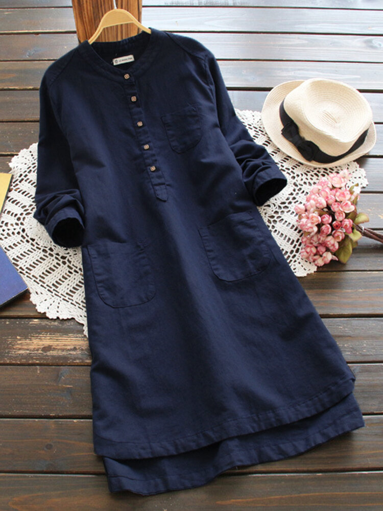 Women Pure Color Buttons Vintage Shirt Mini Dress