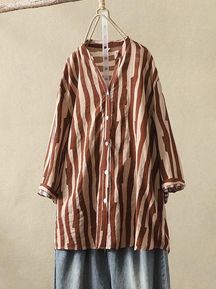 Cuello alto con estampado de rayas 3/4 longitud Botón en la manga Mujer Blusa