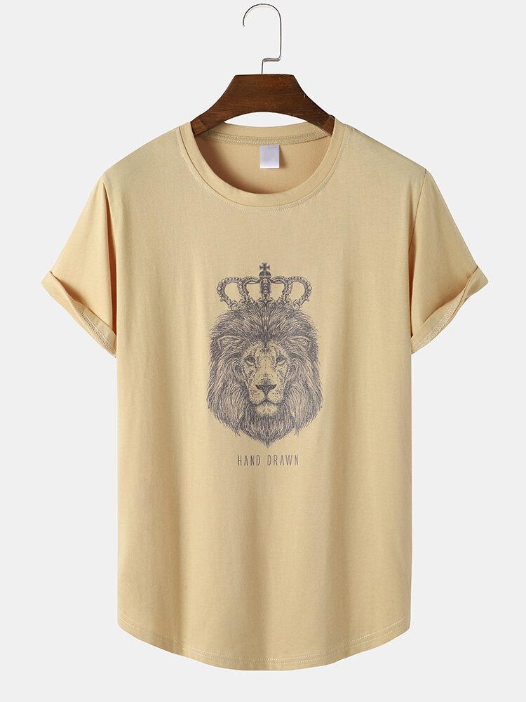 Mens Lion Head Print Curved Hem Short Sleeve Casual Longline T-Shirts