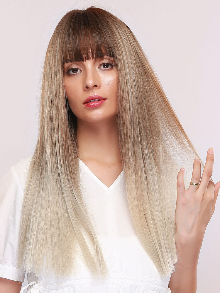 24 Inch Gradient Long Straight Hair Neat Bangs Brown Gradient Linen Gold Synthetic Wig