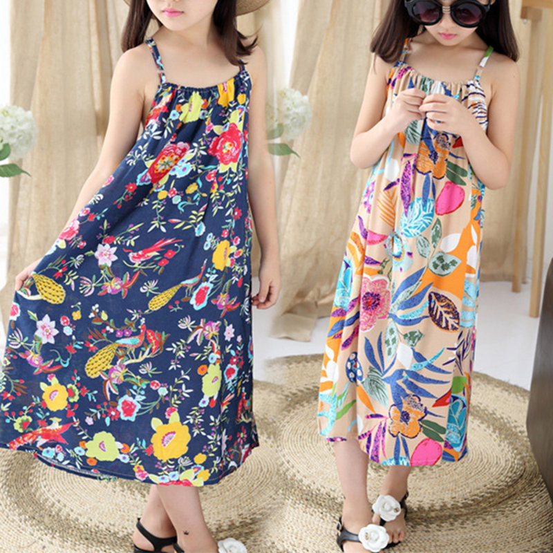 Bohemia Style Girls Sleeveless Floral Dress For Adolescents Big Kids Girls Clothes