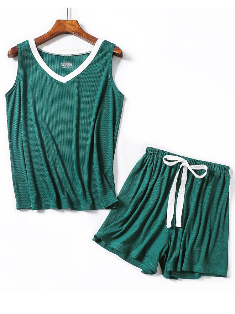 Solid Color Sleeveless Tank Top With Shorts Suit For Women