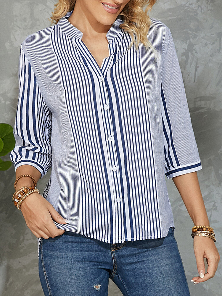 Stripe Print Button Stand Collar 3/4 Sleeve Blouse for Women