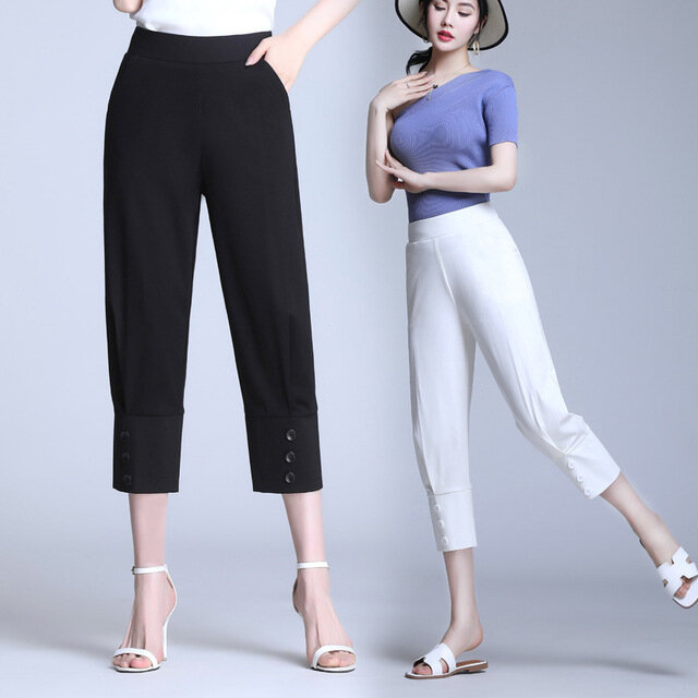 Middle-aged And Old Mother Pants High Waist Stretch Casual Pants Was Thin Eight Points Straight Pants Season Seven Pants Pants Breeches XL