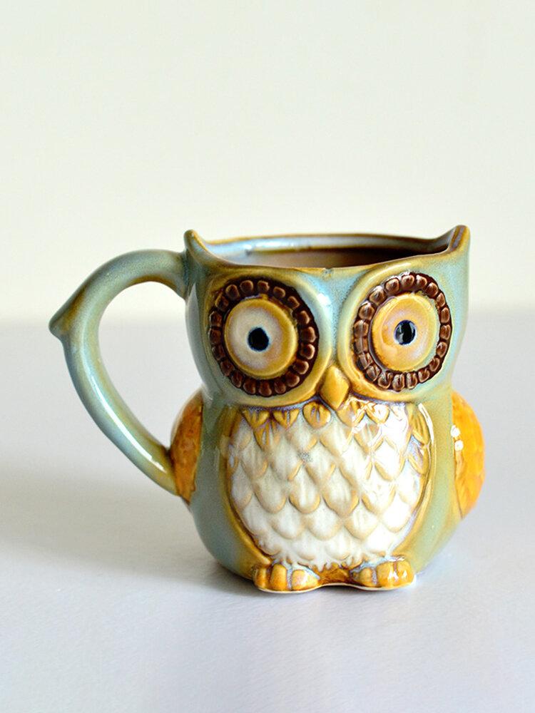 Ретро Ночная сова Керамический кофейная чашка мультфильм молоко кофе Чай уникальные фарфоровые кружки Рождественский подарок