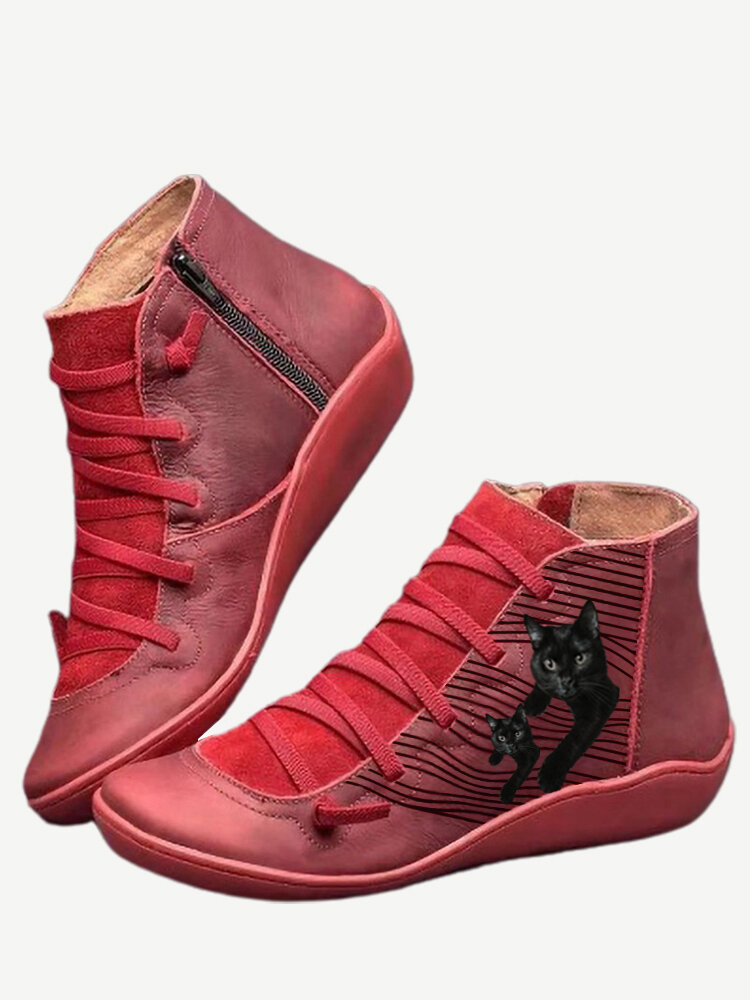 Plus Size Women Casual Cat Printing Side Zipper Flat Ankle Boots