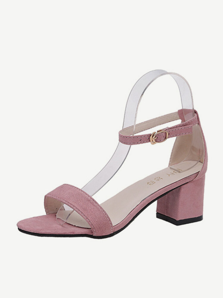 European Station Season New Word Buckle Sandals Fashion Wild Thick With Open Toe Roman Women's Shoes