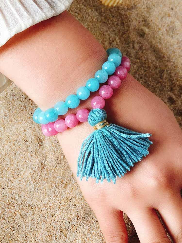 Bohemian Multicolor Crystal Beaded Bracelets Amethyst Elastic Rope Tassel Pendant Women Jewelry
