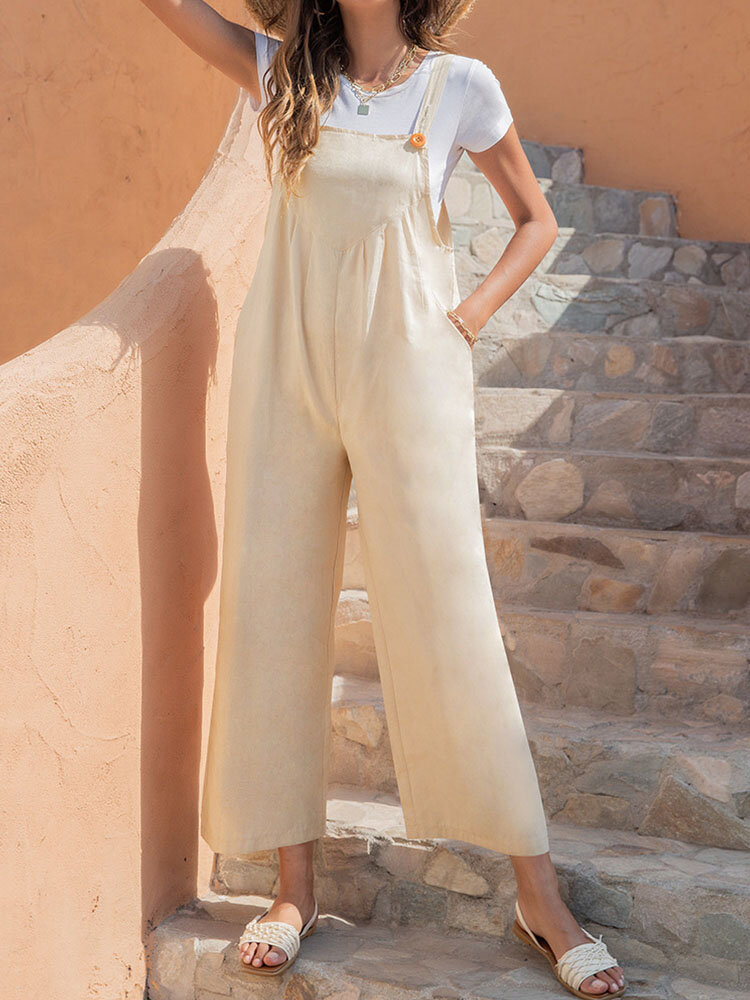Solid Color Adjustable Button Strap Sleeveless Casual Jumpsuit With Pocket