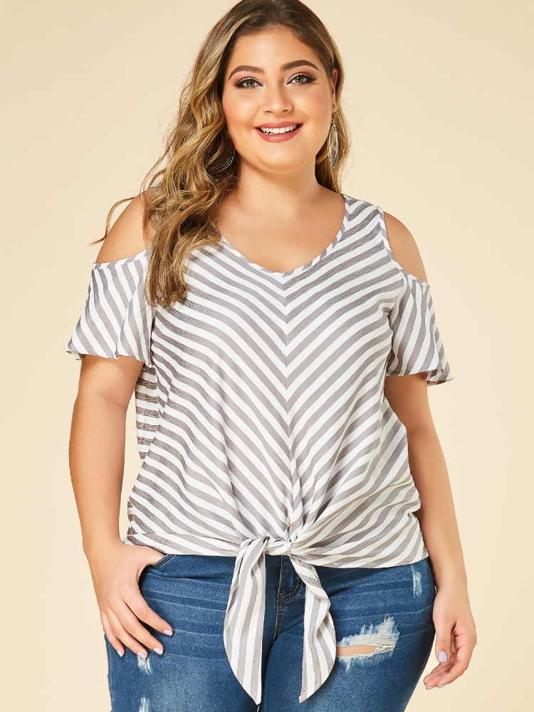 Striped Print Knotted Off Shoulder Plus Size Blouse