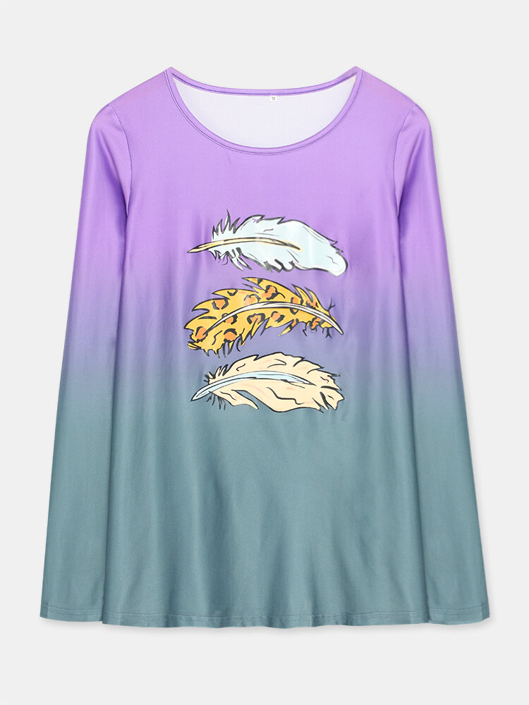 Feather Print Gradient Color Long Sleeve Casual T-shirt for Women