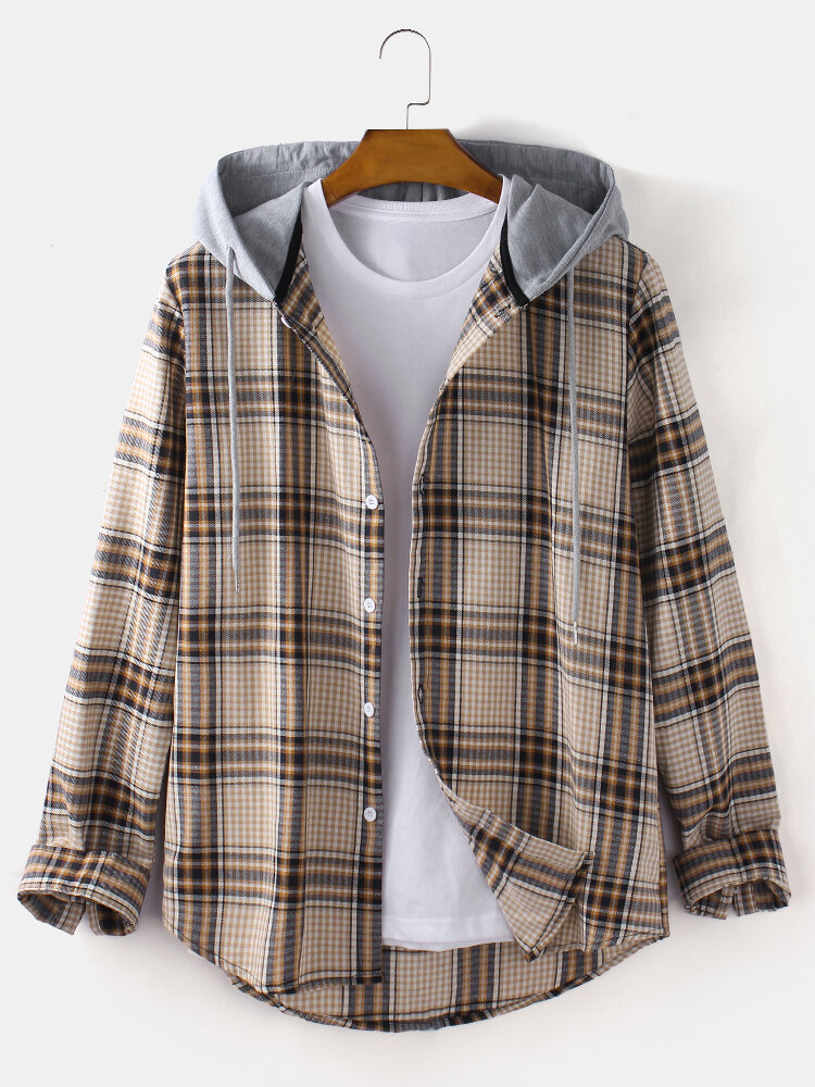 Mens Tartan Plaid Button Up Casual Long Sleeve Drawstring Hooded Shirts
