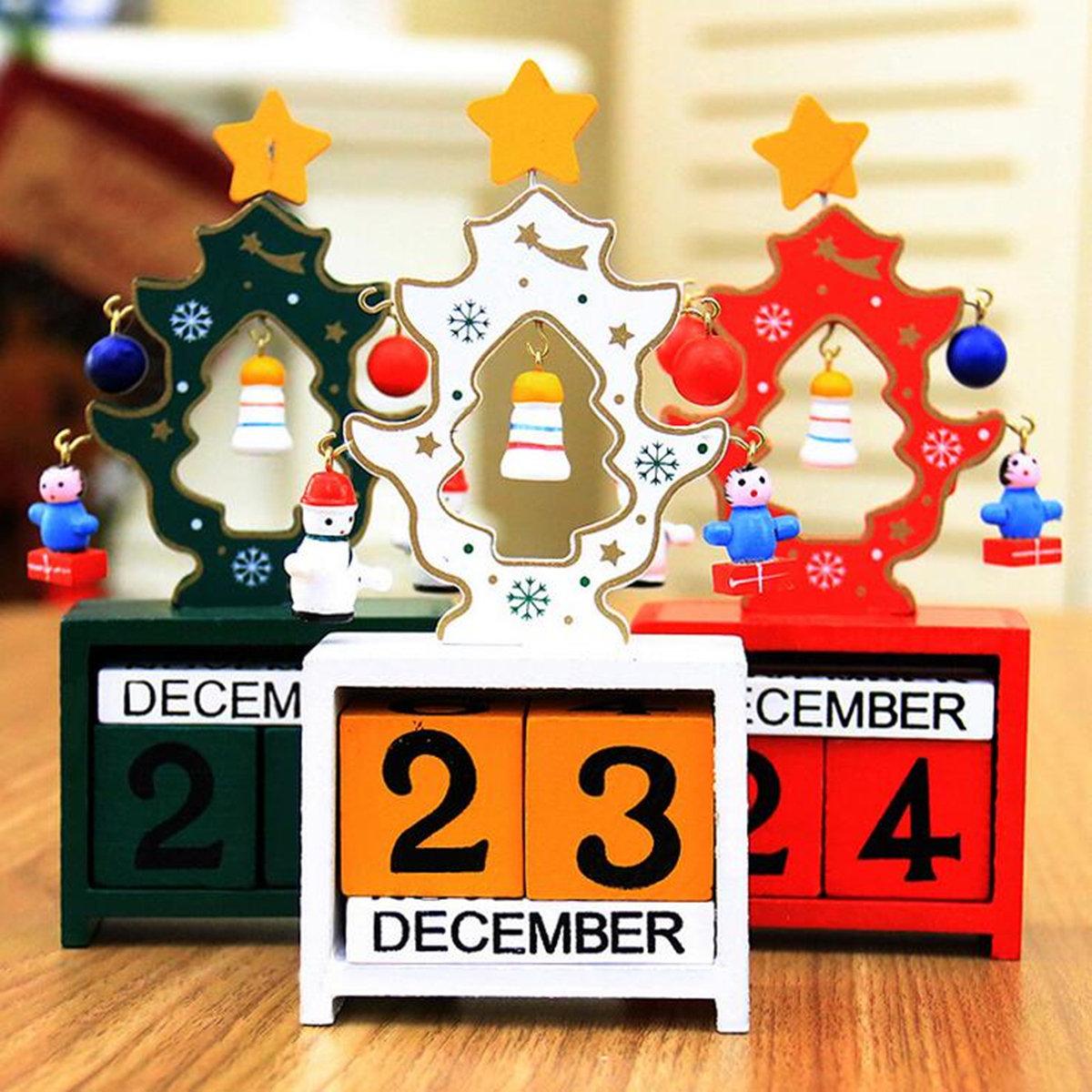 Christmas Creative Gift Mini Wooden Calendar Home Xmas Ornament Table Desk Decor