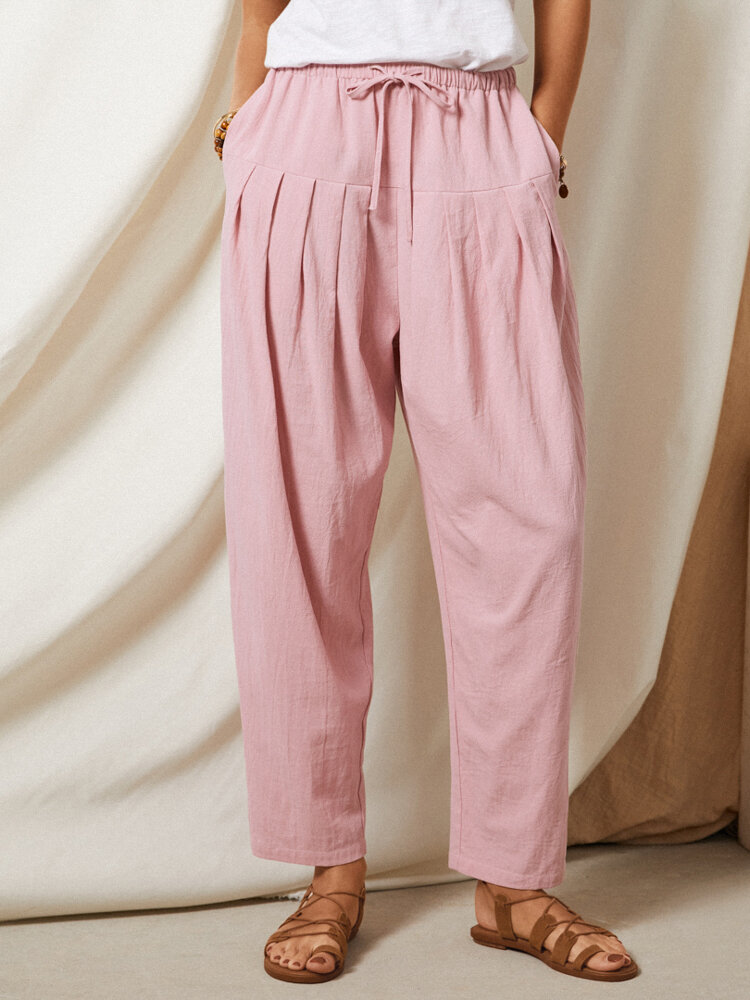 Solid Color Pleated Drawstring Elastic Waist Casual Pants With Pocket
