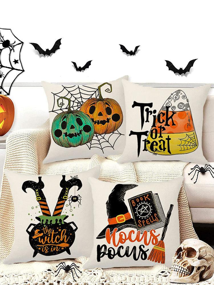 4 PCs Retro Linen Pumpkin Clown Bat Pattern Festival Decoration Halloween Cushion Cover Throw Pillow Cover Pillowcase