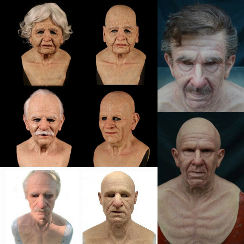 Halloween Rubber Old Man Mask Realistic Scary Latex Mask Horror Headgear Adult Cosplay Props