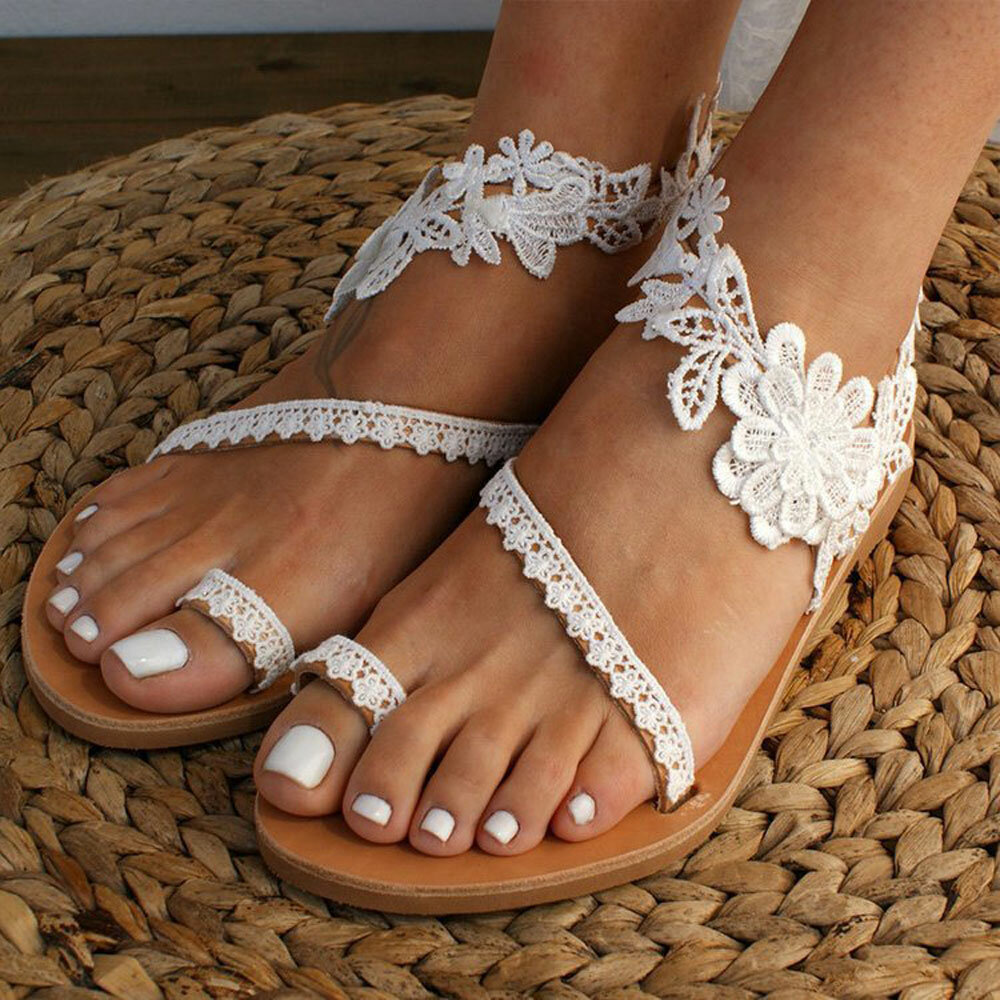 Embroidery Flowers Decor Casual Comfy Clip Toe Flat Sandals