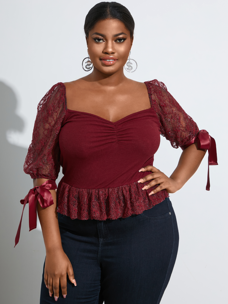 Lace Patchwork Square Collar Knotted Plus Size Blouse