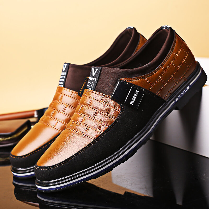 Large_Size_Men_Leather_Splicing_Nonslip_Metal_Buckle_Slip_On_Soft_Casual_Shoes