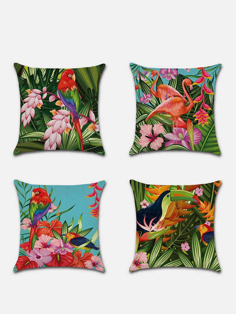 Tropical Flower Pillowcase Flamingo Parrot Leaf Digital Printing Linen Without Core