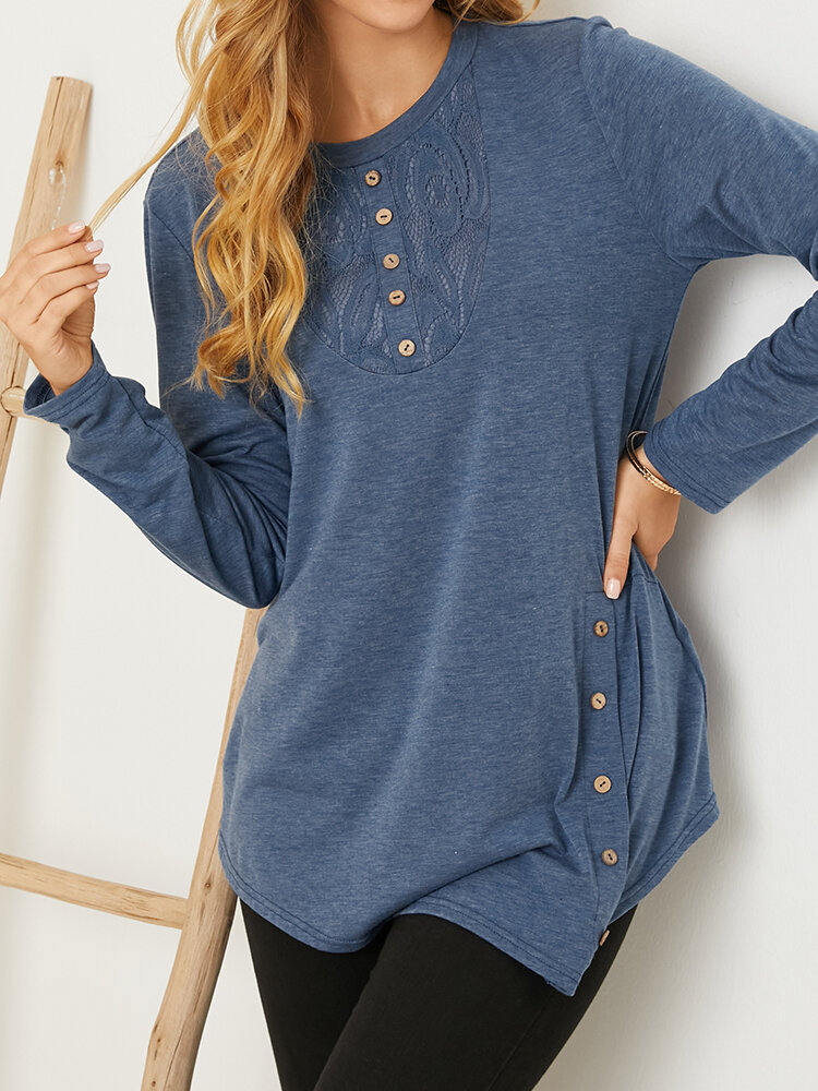 Asymmetrical Lace Embroidered Buttons O-neck Casual Blouse for Women