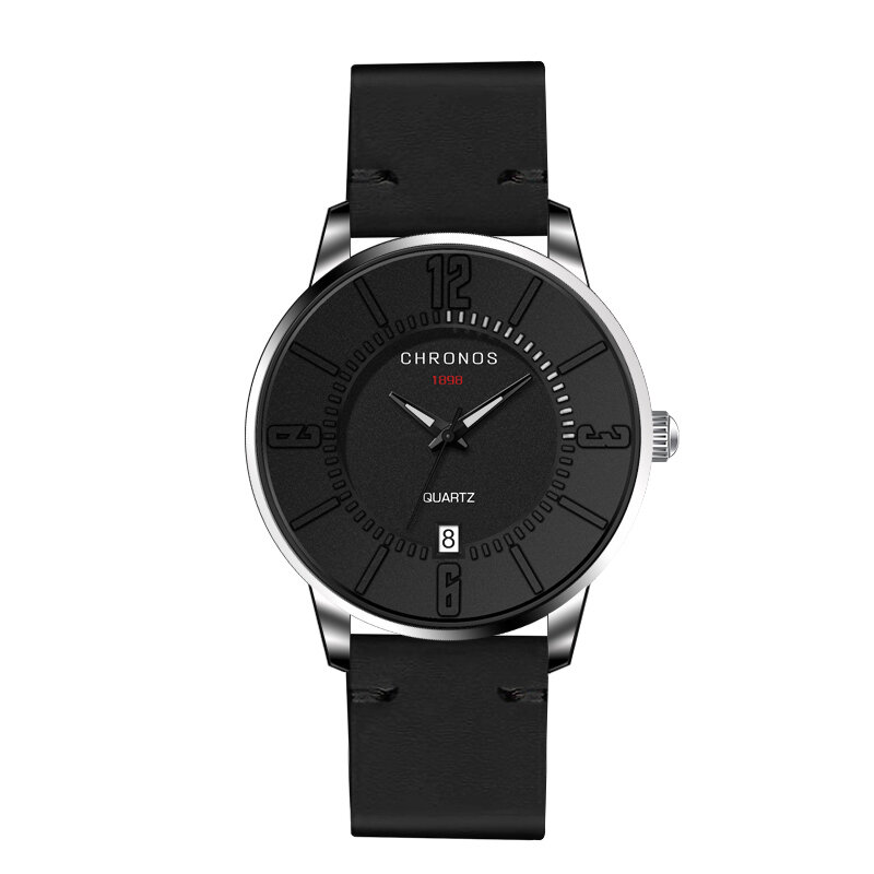 CHRONOS Calendar Waterproof Mens Watches Ultra Thin Case Quartz Leather Minimalist Watches for Men
