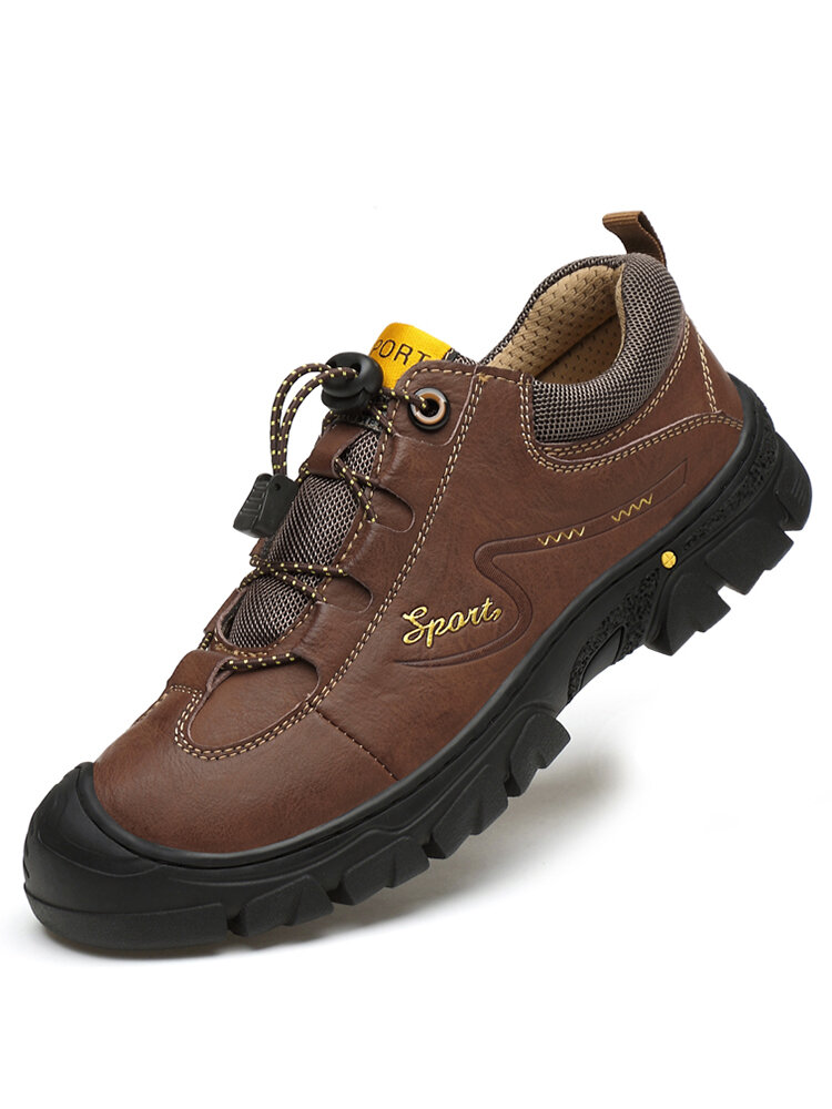 Men Outdoor Detailed Stitching Rubber Toe Cap Slip Resistant Soft Hiking Shoes