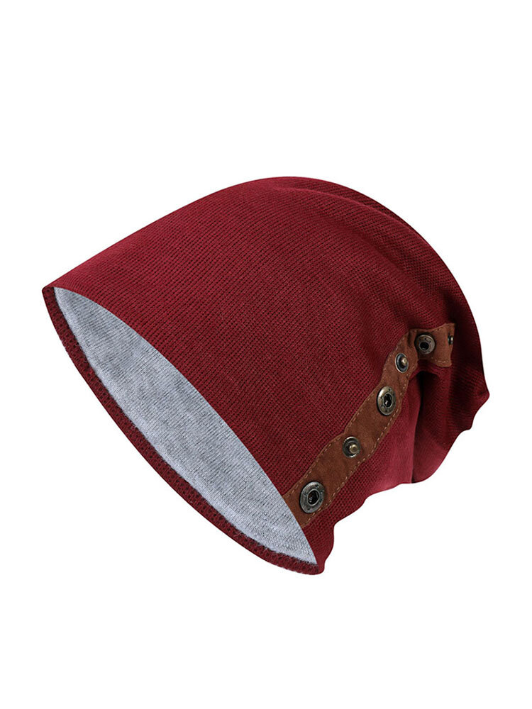 Women Men Knit Plush Warm Beanie Cap Outdoor Sports Cycling Double-breasted Hat