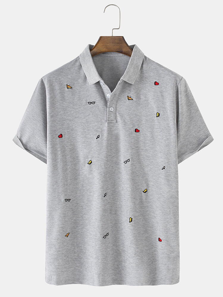 Mens 100% Cotton Embroidered Solid Breathable Light Golf Shirts In Grey