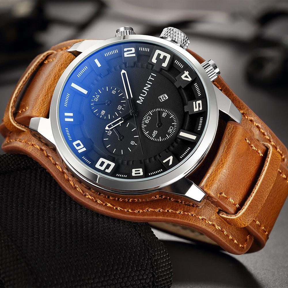 fa29b36c27c852 MUNITI MUNITI Sport Militaire Montre Quartz Grand Dial Calendrier Cuir Montres  pour Hommes Armée Homme Horloge montre à la mode pas cher - Newchic.