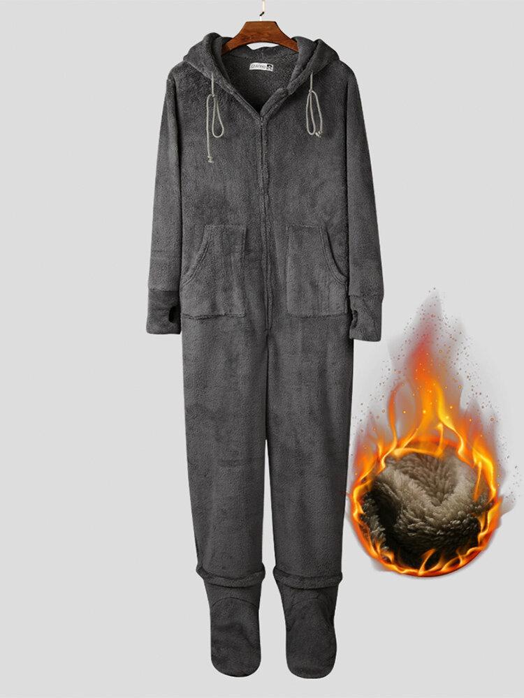 Pigiama da uomo in flanella spessa con piedi tinta unita Loungewear termico con fori per i pollici