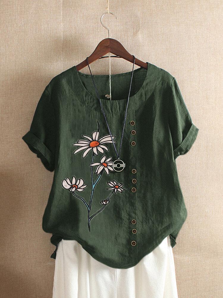O-Neck-T-Shirt mit O-Ausschnitt und Blumenmuster