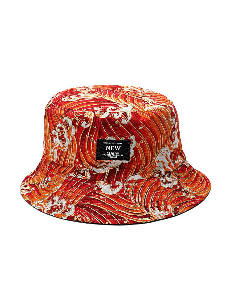 Women Summer Cotton Wave Pattern Bucket Hat Casual Sunshade Breathable Beach Hat