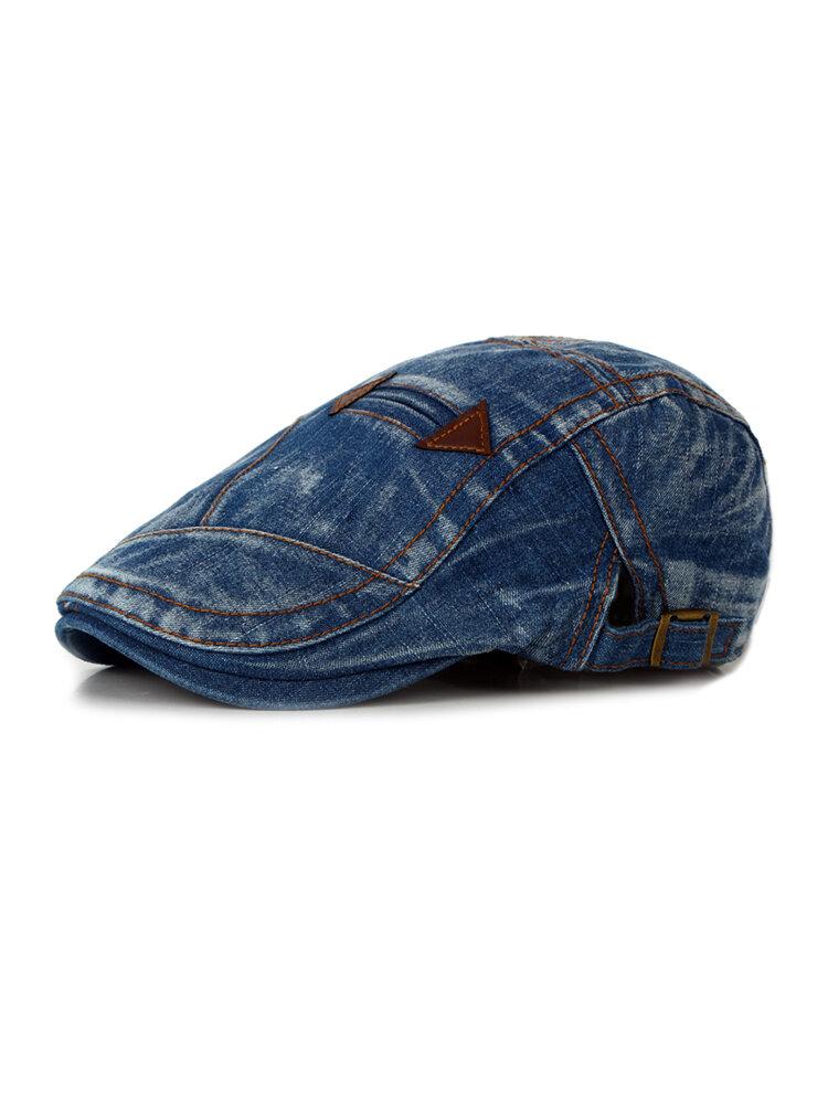 Unisex Fashion Summer Washed Vintage Denim Beret Caps Casual Flat Sun Cap for Cowboy