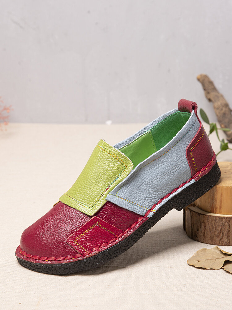 SOCOFY Casual Ethnic Color Block Patchwork Cowhide Leather Loafers Non Slip Soft Slip On Flat Shoes Loafers