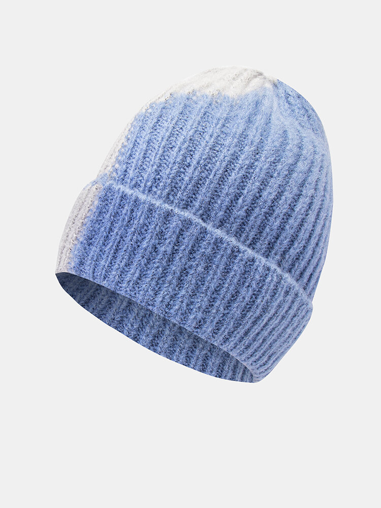 Unisex Knitted Color-match Irregular Patchwork All-match Warmth Beanie Hat