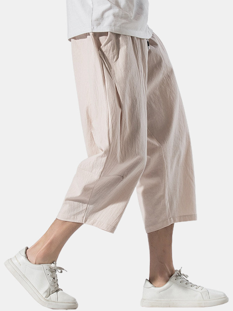 Mens Cotton Linen Chinese Style Loose Drawstring Cropped Pants
