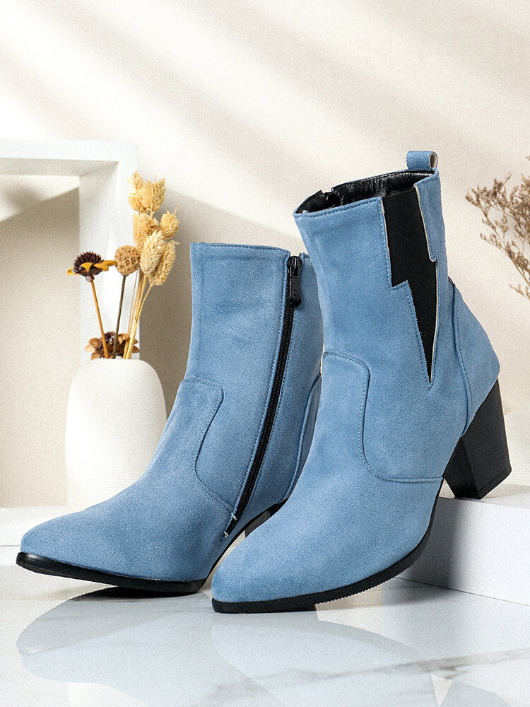 Plus Size Women Casual Solid Color Simple Pointed Toe Zipper Chunky Heel Chelsea Boots