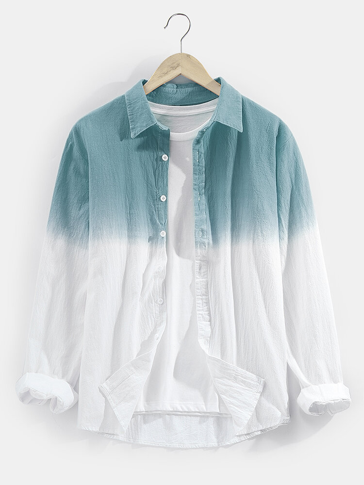 Mens Two Tone Ombre Basic Lapel Long Sleeve Casual Shirt