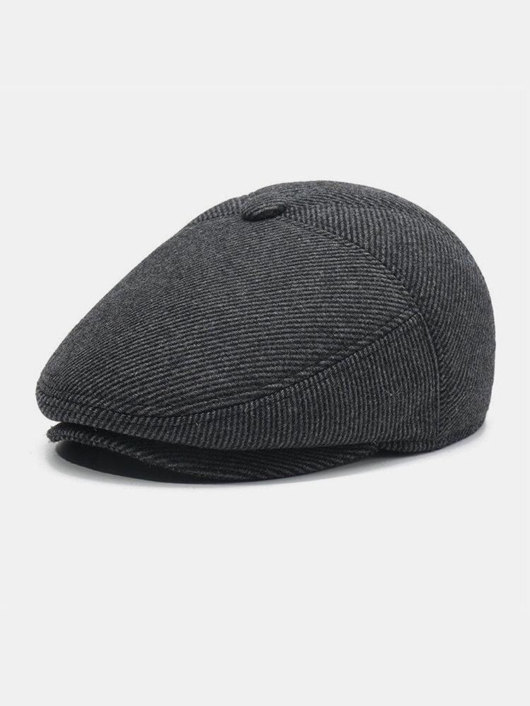 Men Wool Ear Protection Winter Outdoor Stripe Pattern Casual Universal Plus Thicken Beret Hat Flat Cap