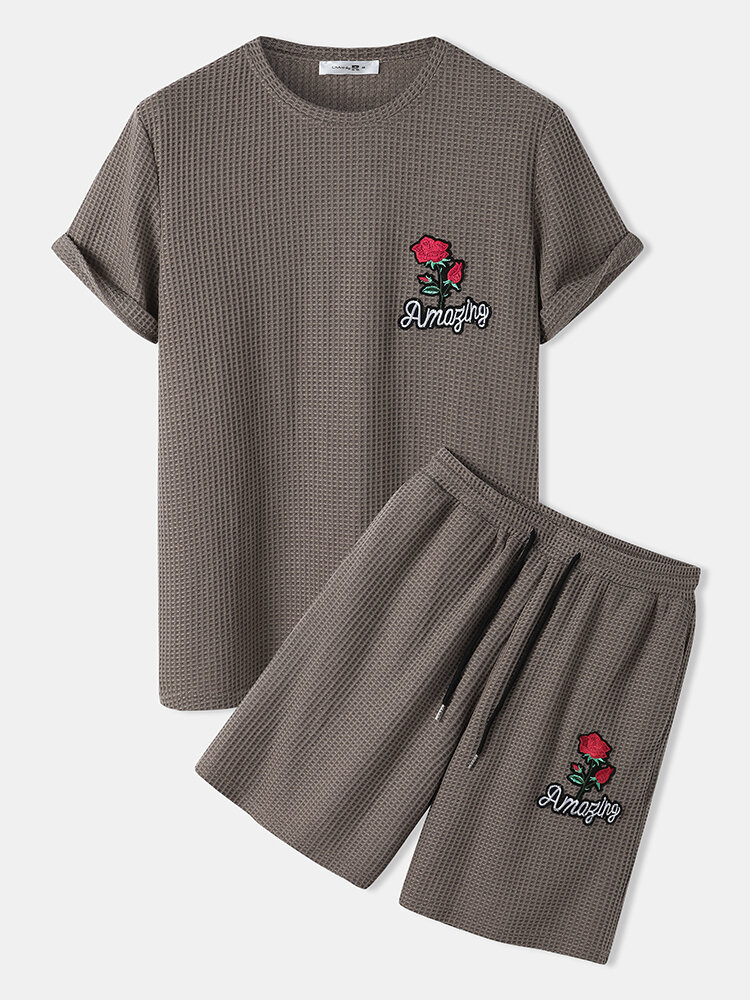 Mens Knitted Rose Letter Short Sleeve Pocket Drawstring Two Piece Outfits