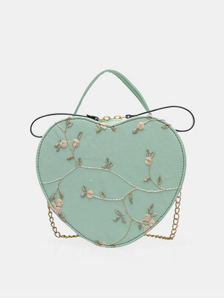 Women Floral Chain Embroidery Heart-shaped Bag Satchel Bag Shoulder Bag Handbag