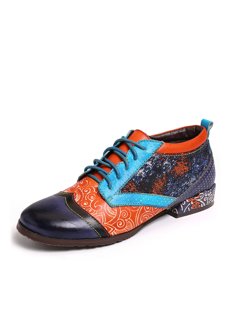 SOCOFY Bohemian Pattern Spots Colorful Stitching Genuine Leather Flat Shoes
