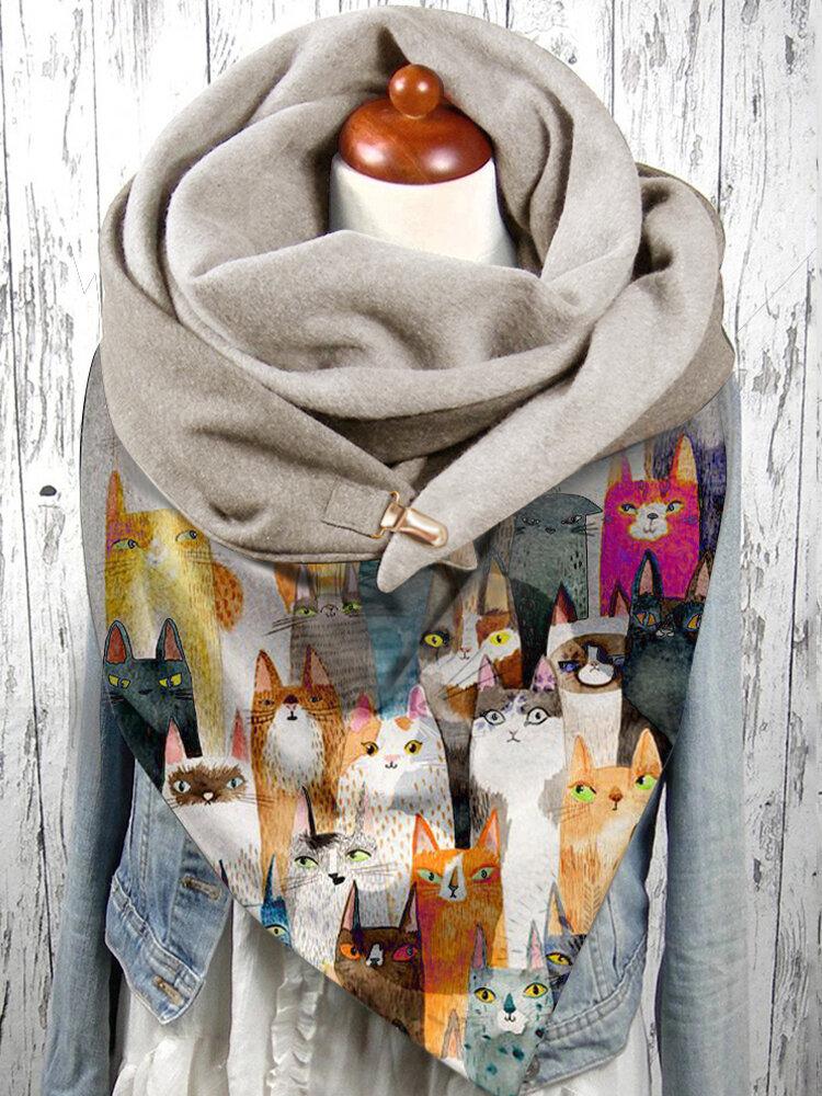 女性Colorful漫画かわいい猫のパターンSoftパーソナリティ首の保護は暖かいスカーフを保ちます