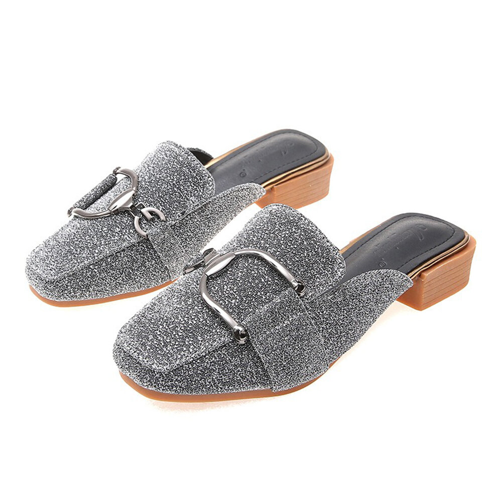 Big Size Women Lazy Mules Shoes Square Toe Metal Sequined Backless Sandals