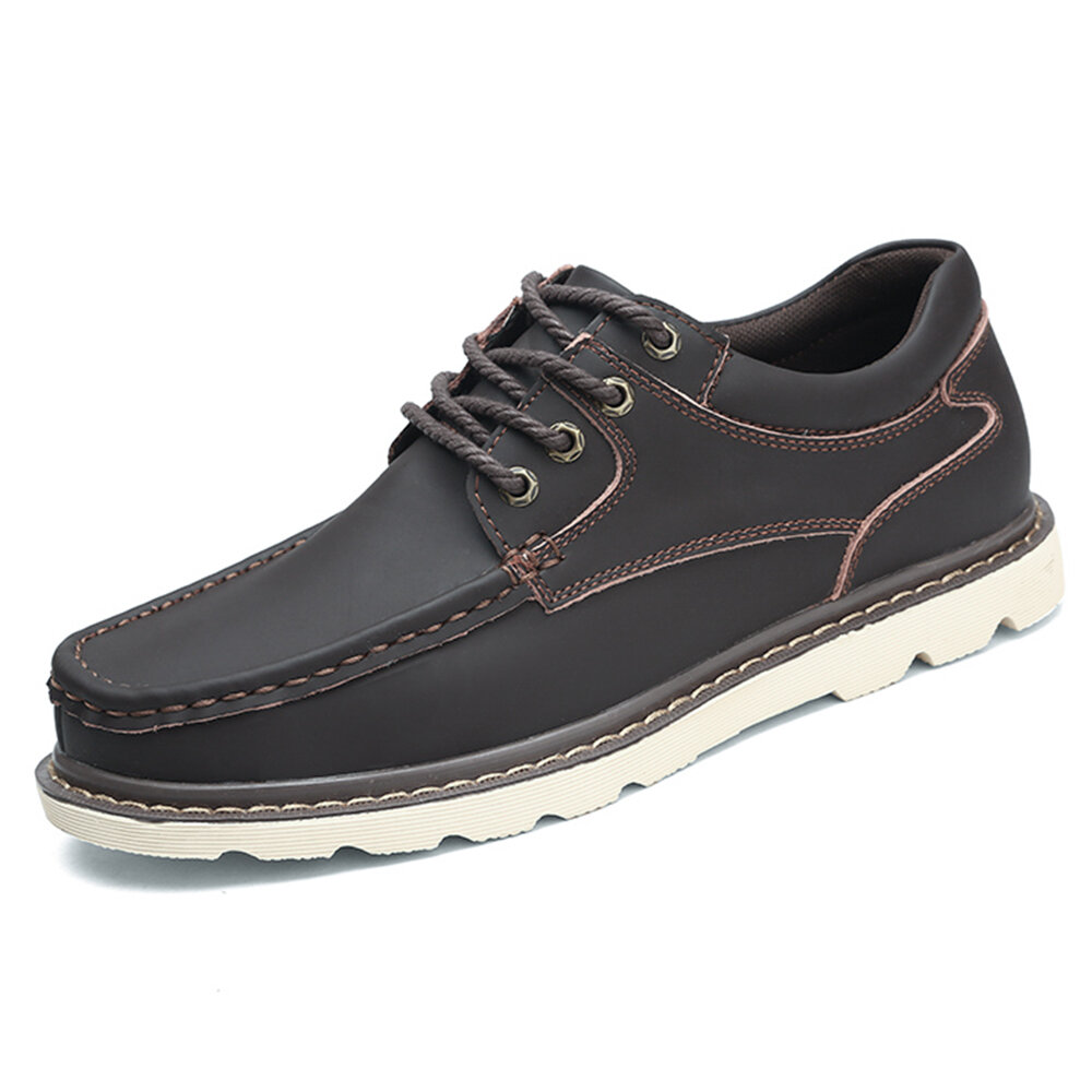 Large Size Men Pure Color Soft Sole Lace Up Casual Leather Oxfords