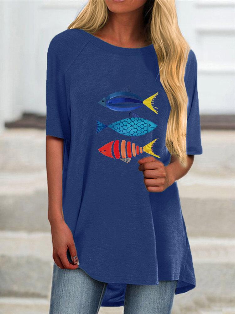 Cartoon Fish Print Short Sleeve Plus Size Casual T-shirt