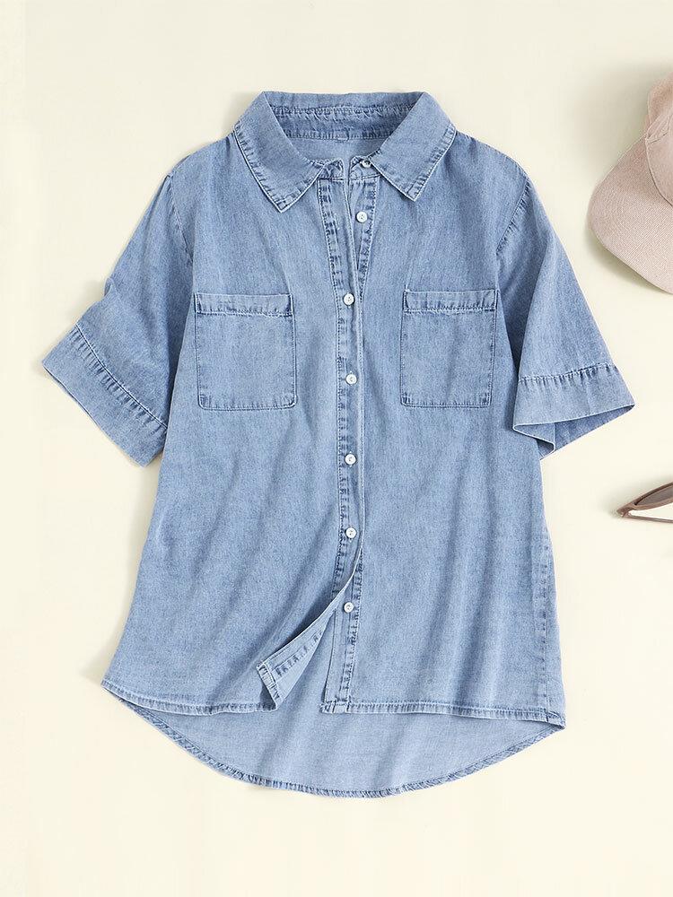Denim Solid Lapel Button Pocket Short Sleeve Blouse